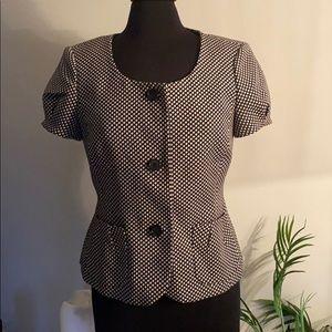 ANN TAYLOR Short sleeve fit & flare blazer button
